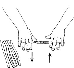 Figure 12-15 (left) Twisting the layered strip of puff pastry and short dough into a corkscrew shape by rolling it against the table, moving the hands in opposite directions